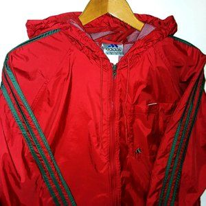 Adidas Full Zip Hooded Windbreaker Red/Gray Sz M